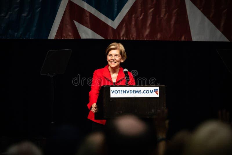Reno, nanovoltio - 23 de junio de 2018 - Elizabeth Warren Smiling Happy At Nev imagen de archivo libre de regalías