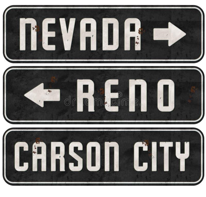 Reno Nevada Carson City Street Signs Grunge ilustração do vetor