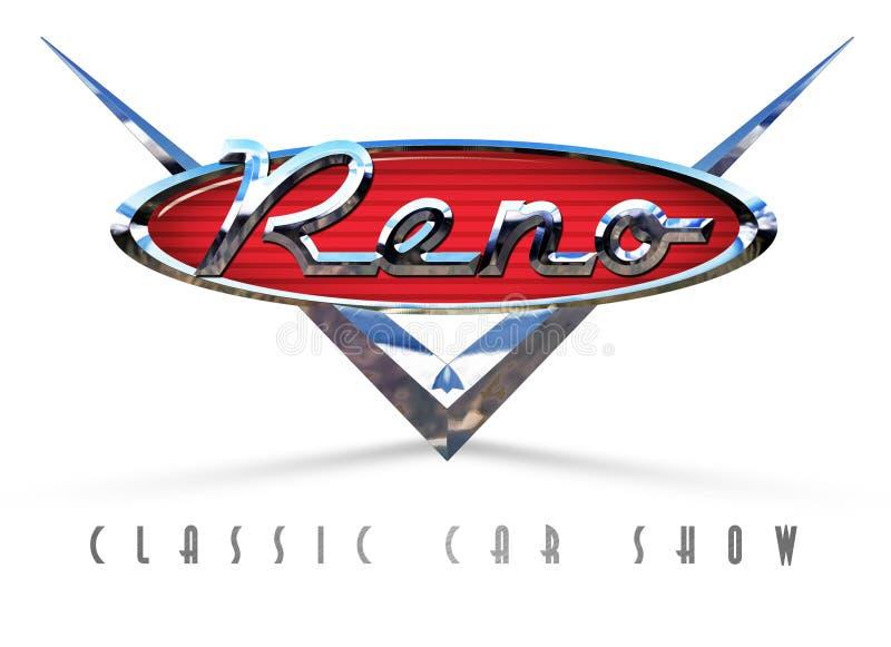 Reno nocy klasyka Gorący Sierpniowy car show royalty ilustracja