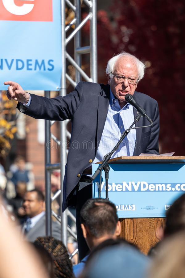 RENO, NV - October 25, 2018 - Vertical photo of Bernie Sanders p stock photos