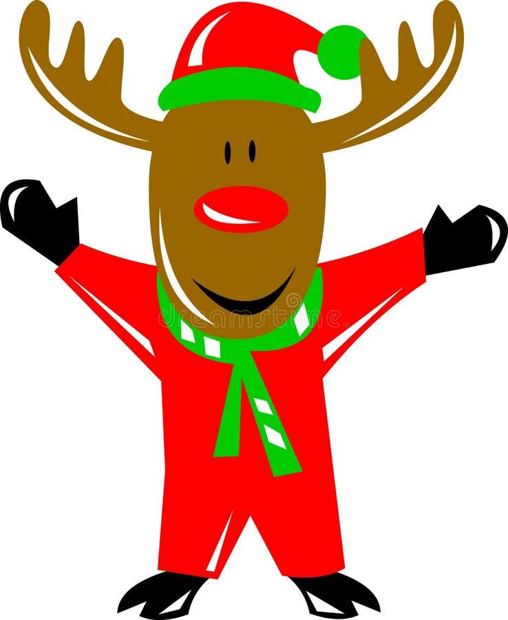 Reno olfateado rojo de Rudolph ilustración del vector