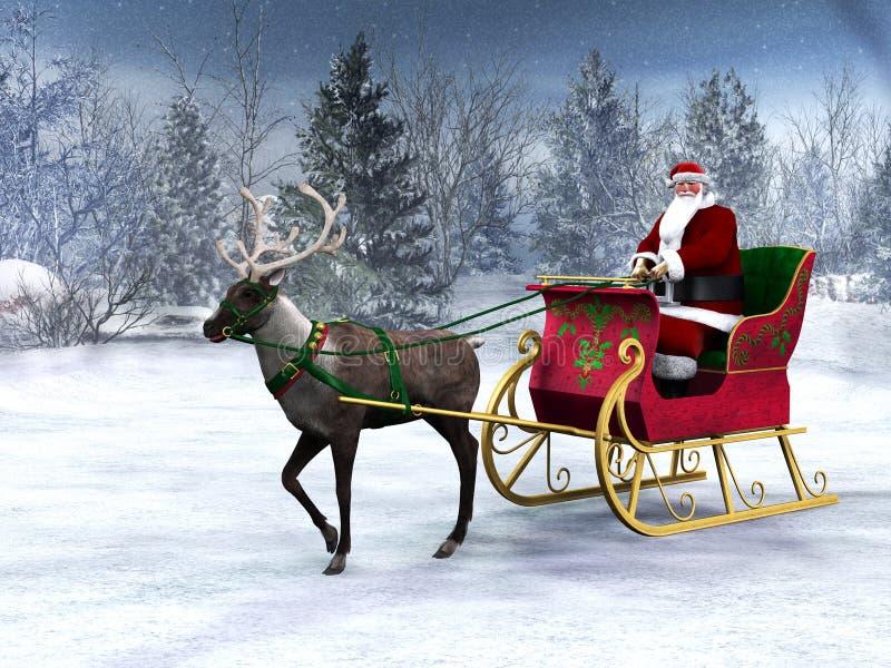 Reno que tira de un trineo con Papá Noel. stock de ilustración