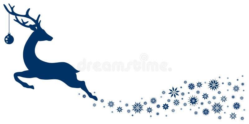 Reno que vuela azul marino con la bola de la Navidad que mira detrás las estrellas stock de ilustración