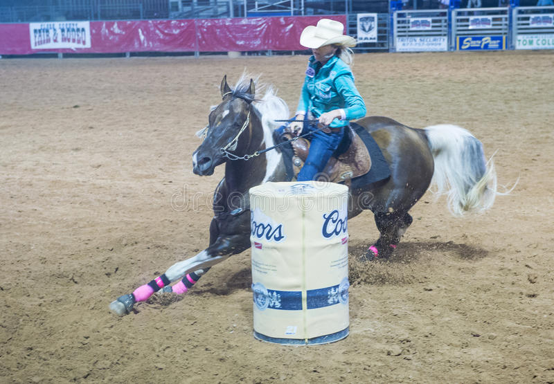 Reno Rodeo. LOGANDALE , NEVADA - APRIL 10 : Cowgirl Participating in a Barrel racing competition in the Clark County Fair and Rodeo a Professional Rodeo held in stock photo