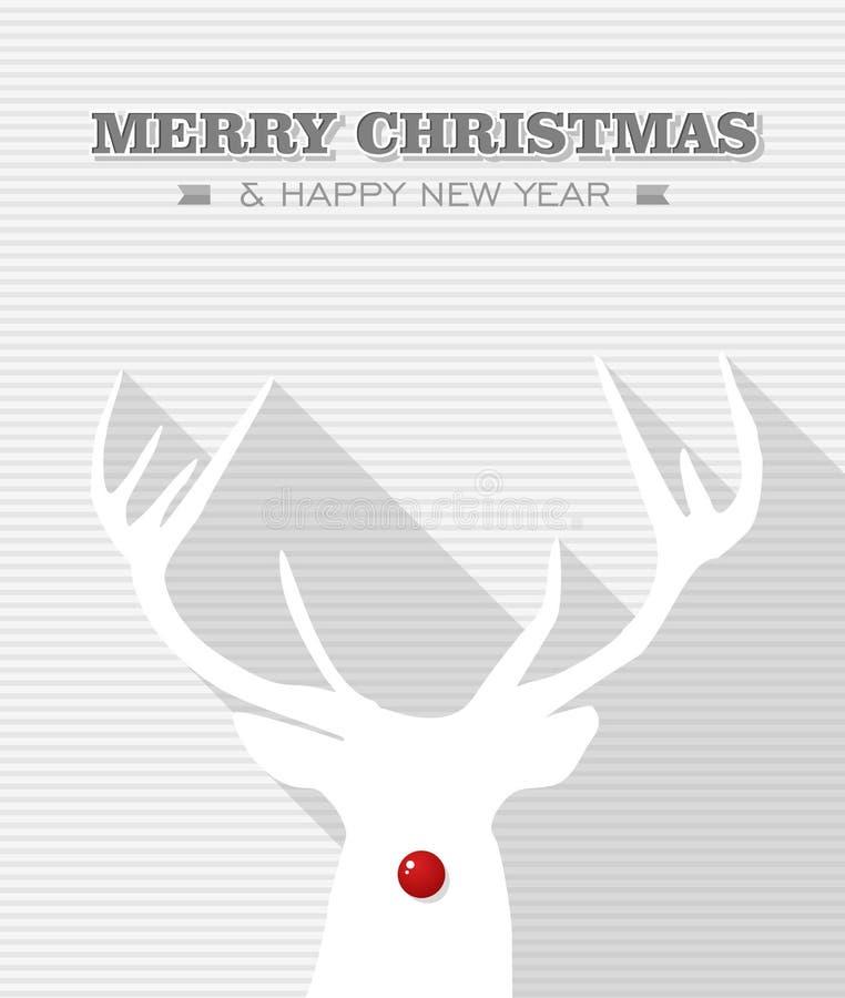 Reno rojo del blanco del punto de la Feliz Navidad. stock de ilustración
