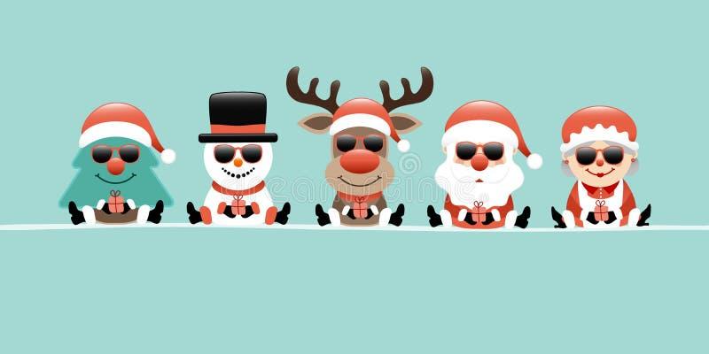 Reno Santa And Wife Sunglasses Turquoise del muñeco de nieve del árbol de navidad de la bandera stock de ilustración