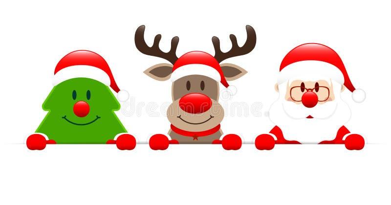 Reno y Santa Holding Horizontal Banner del árbol de navidad libre illustration
