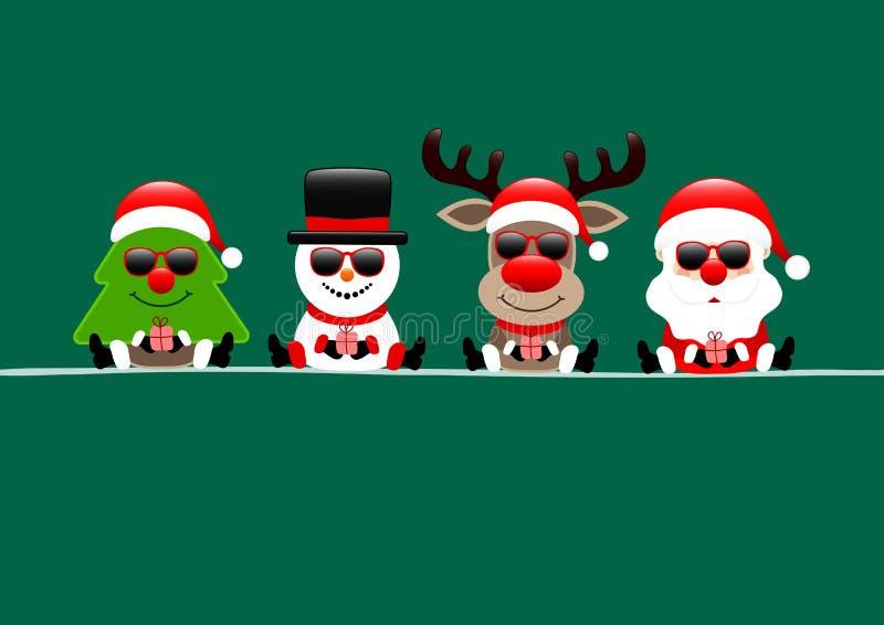 Reno y Santa Sunglasses Green del muñeco de nieve del árbol de la tarjeta de Navidad libre illustration