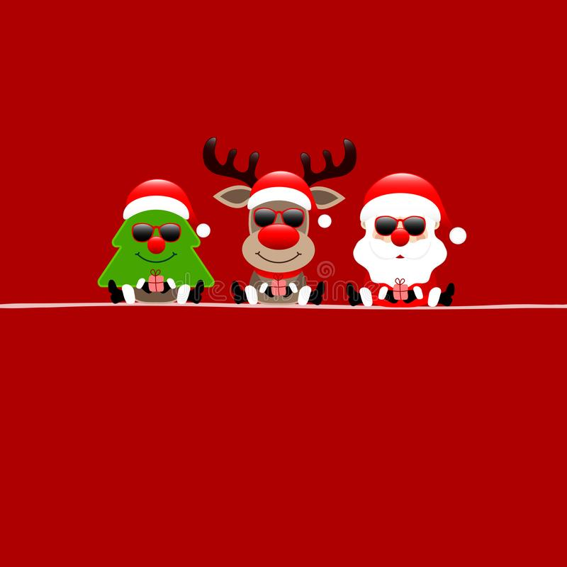 Reno y Santa Sunglasses Red cuadrados del árbol de la tarjeta de Navidad ilustración del vector