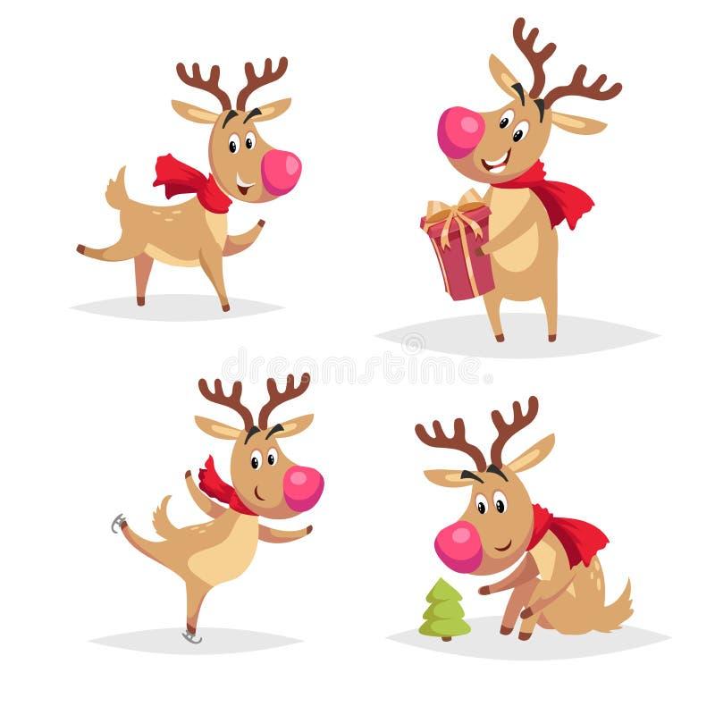 Renos de la historieta con las narices grandes y las bufandas rojas fijadas Baile, tomar una caja de regalo roja, patinada y mira ilustración del vector