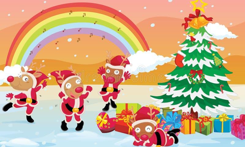 Renos que celebran la Navidad libre illustration