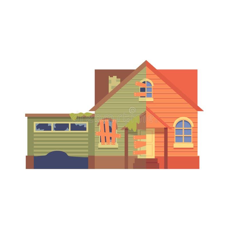 Renovação da casa com um estilo liso dos desenhos animados da garagem, antes e depois ilustração stock
