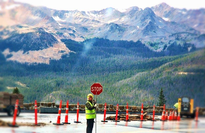 Renovação da estrada dos EUA do estado de Colorado da montanha rochosa fotografia de stock royalty free