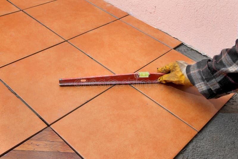 Renovação home, telhas foto de stock