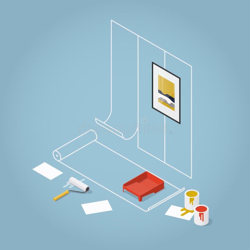 Renovación isométrica del hogar del concepto stock de ilustración