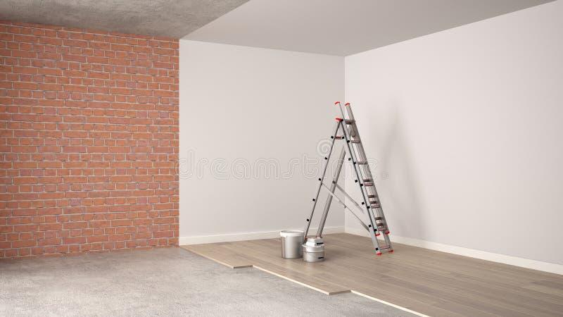 Renovación, proceso de reestructuración, reparación y pintura de pared caseros, concepto de la construcción Ladrillo y paredes pi stock de ilustración