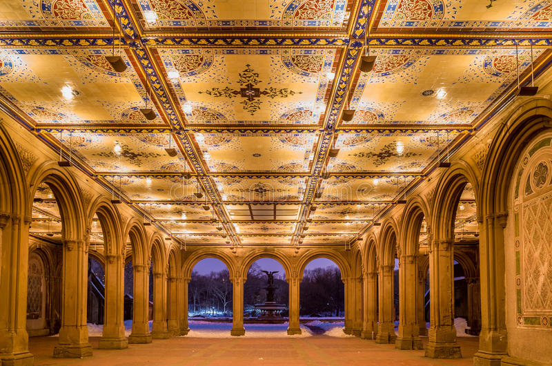 Renovated Bethesda Arcade and Fountain in Central Park, New York. Interior view of newly renovated Bethesda Arcade and Fountain in Central Park, New York City stock photo
