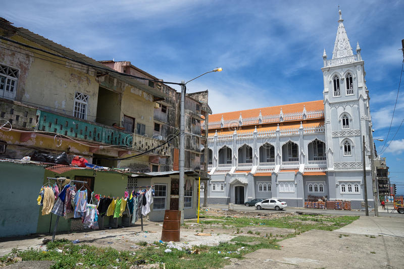Renovated church in the slums. June 9, 2016 Colon, Panama: a renovated church stands out in the slums of the port town royalty free stock photos