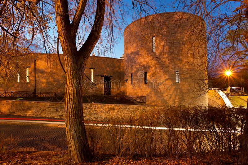 Renovated city walls in Zatec town. Czech Republic stock photos