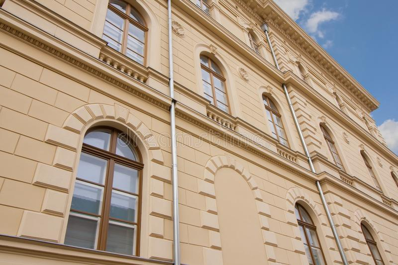 Old building in Szeged, Hungary. Renovated facade of a historic old building in Szeged, in the south of Hungary, Europe royalty free stock photos