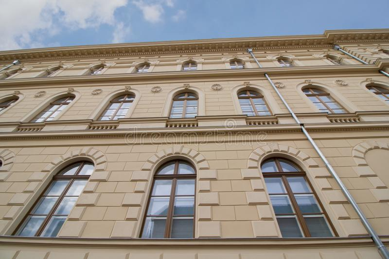 Old building in Szeged, Hungary. Renovated facade of a historic old building in Szeged, in the south of Hungary, Europe royalty free stock photo
