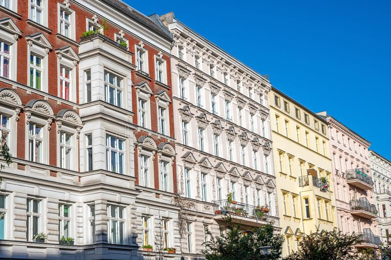 Renovated old apartment buildings royalty free stock photos