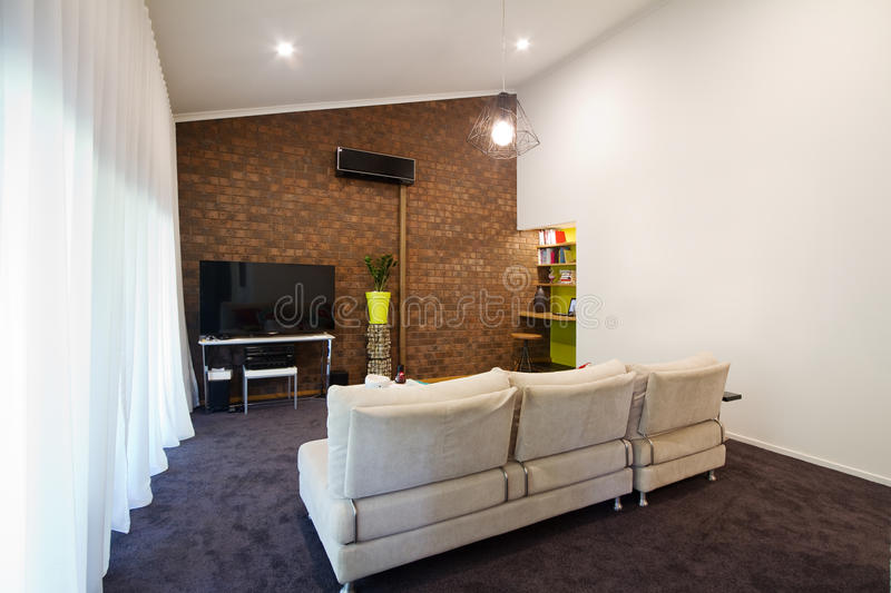 Download Renovated 70s Exposed Brick Wall Apartment Living Room Stock Image    Image Of Brick,