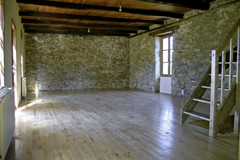Renovated stone house stock photo