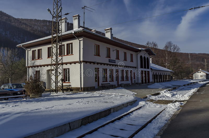 Renovating old station of railway and view in the entrance, Koprivshtitsa stock images