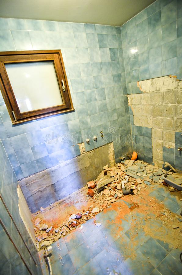 Renovating and rebuilding interior of home house or apartment ba. Throom. Demolishing works on home adaptation works in private residence bathroom. Making new stock photo