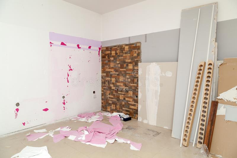 Renovation of the apartment. Renovation of the modern business apartment royalty free stock photo