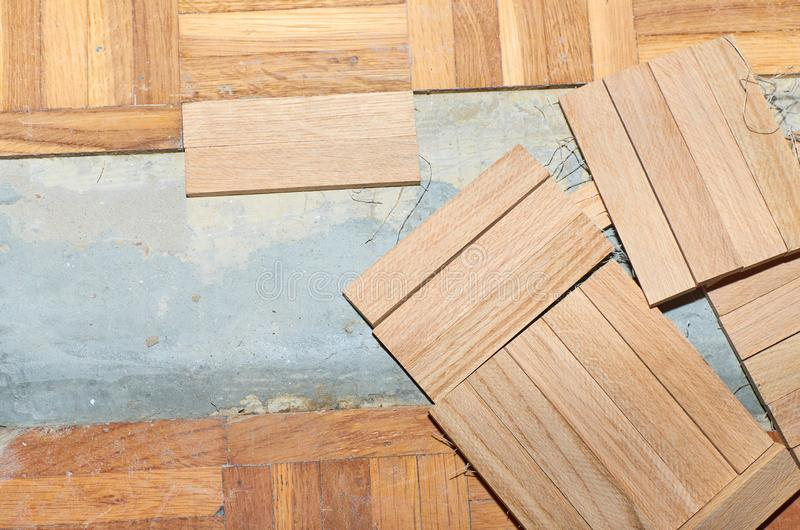 Parquet renovation works royalty free stock photography