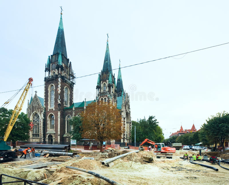 Renovation of a Gorodotsjka Stree stock photo