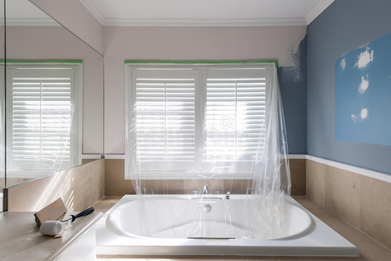 Renovation of home bathroom royalty free stock image