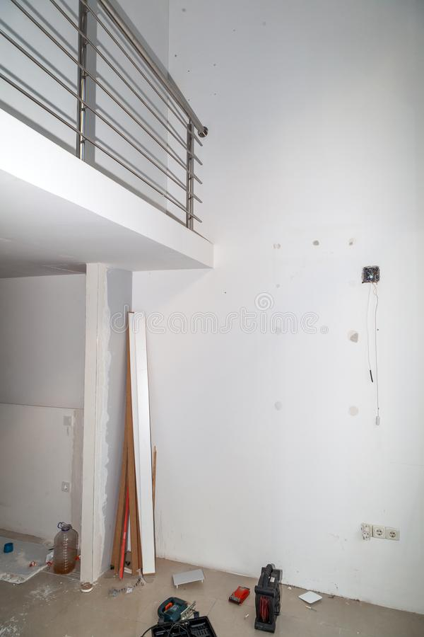 Renovation of the apartment. Renovation of the modern business apartment stock image