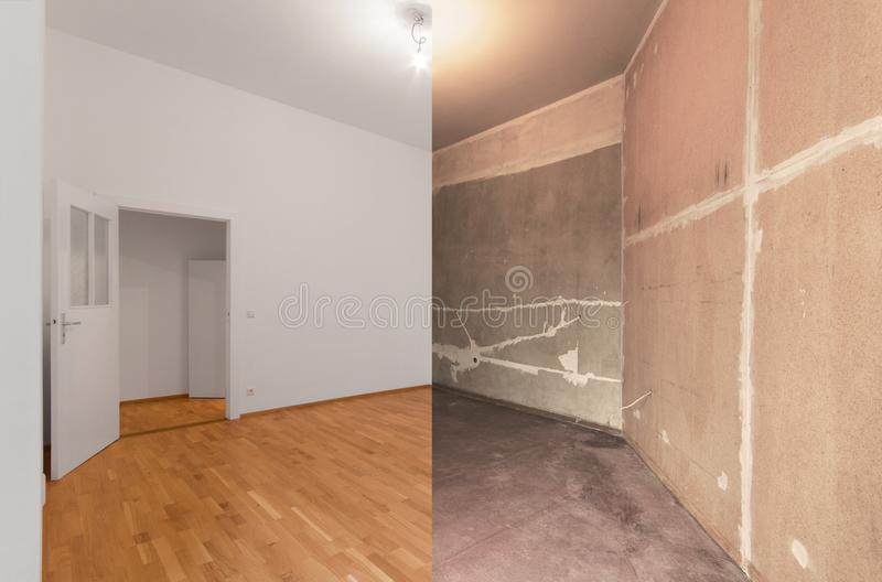Renovation before and after - renovating empty apartment room.  stock photos