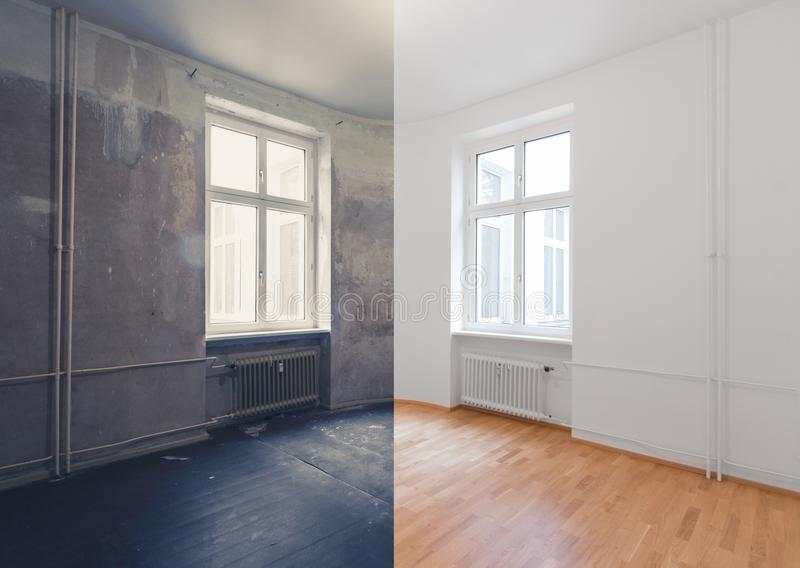 Renovation before and after - renovating empty apartment room.  stock images