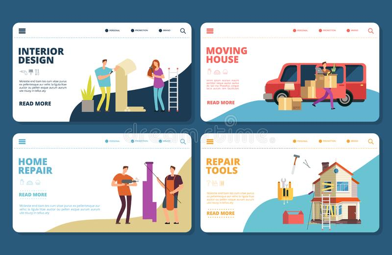 Renovation, repair, design, moving vector landing pages tempplate vector illustration