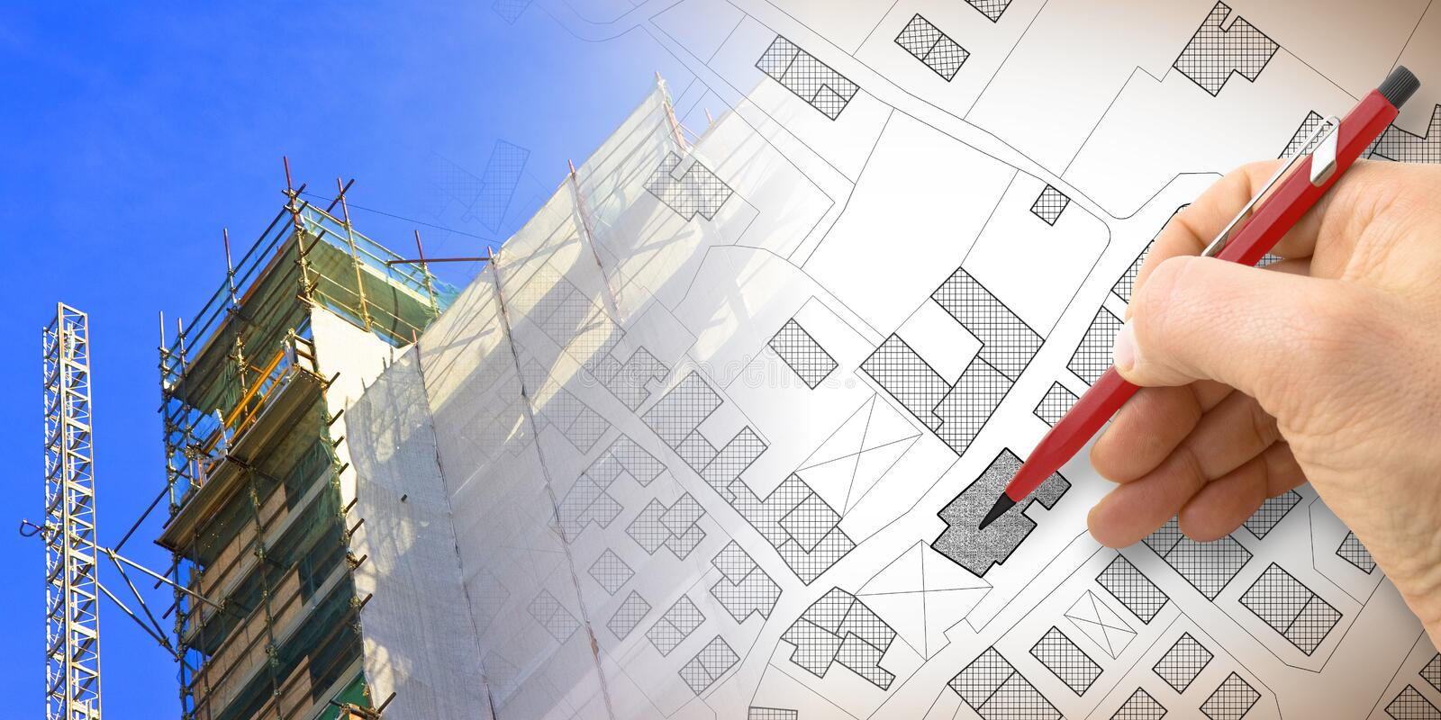 Renovation of a residential building with a metal scaffolding in a construction site - concept image with hand drawing over an. Imaginary .cadastral map of royalty free stock photo