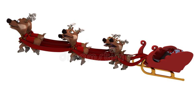 rensantas sleigh royaltyfri illustrationer