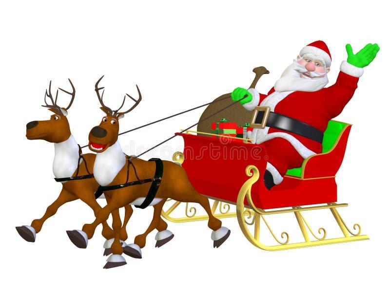 Rensläde och jultomten royaltyfri illustrationer