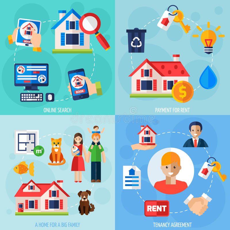 Free Rent And Tenancy Icons Set Stock Photo - 65339240