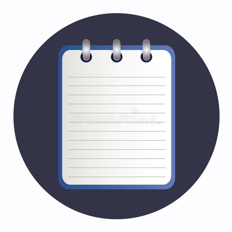 Rent ark av anteckningsboken i skuggor av blått stock illustrationer