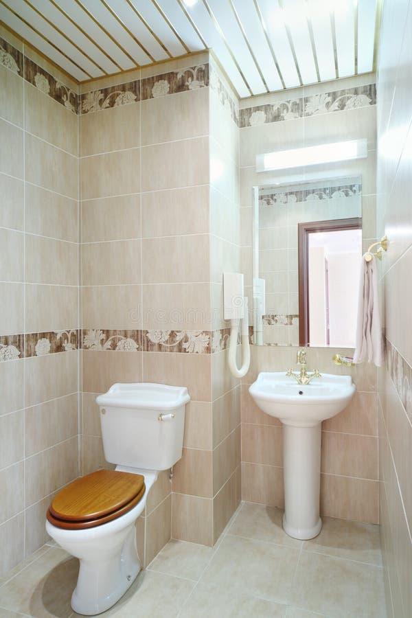 Rent badrum med toaletten och handfat med spegeln royaltyfri foto