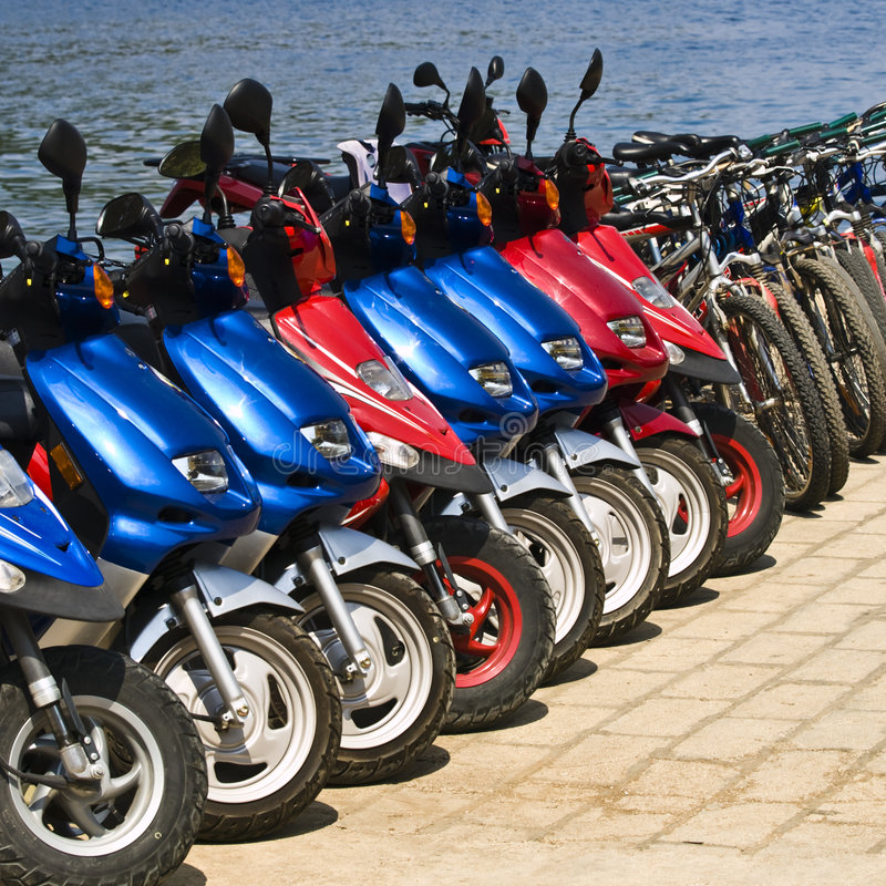 Download Rent-a-bike stock photo. Image of many, tires, motor, motorbike - 3242572