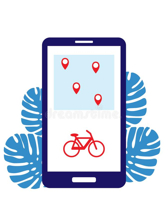 Rent a bike and search for stations with parking through the application on the phone. Bike sharing with items shown on royalty free illustration