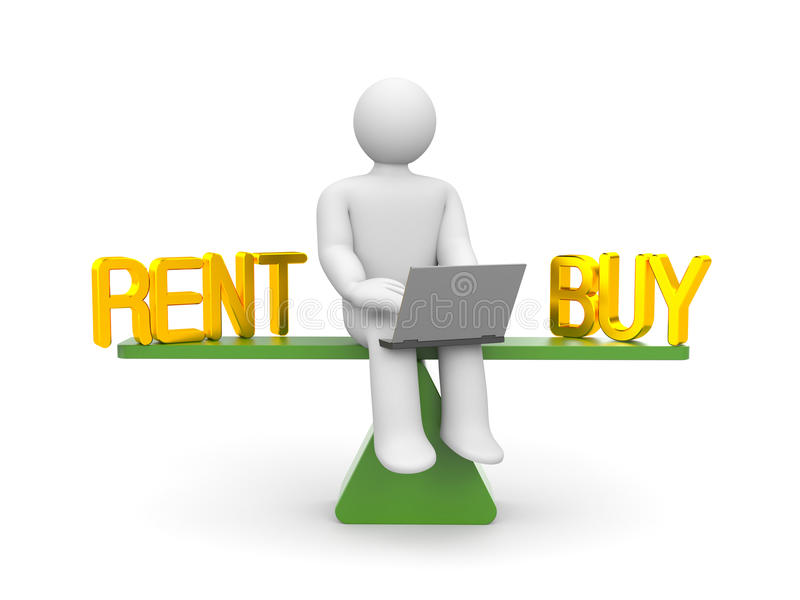 Rent or buy. Business concept. Separated on white vector illustration