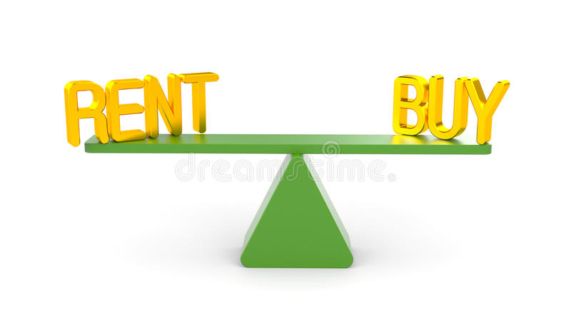 Rent or buy. Business concept. Separated on white stock illustration