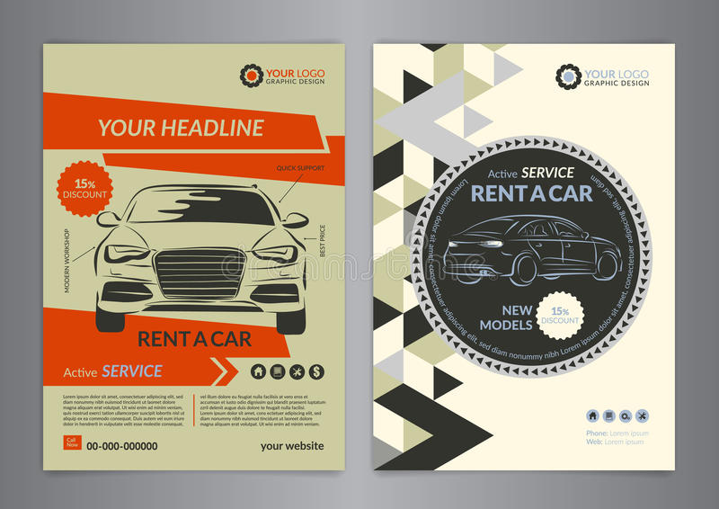 download rent a car business flyer template auto service brochure templates stock vector illustration