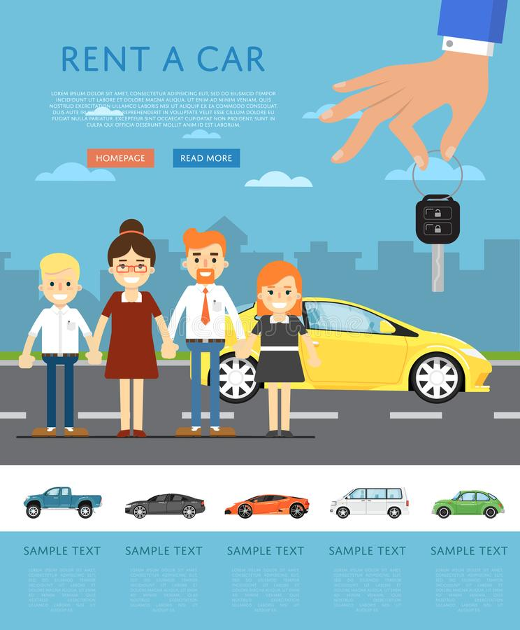 Rent a car concept with happy family. Rent a car concept with universal car, happy family and hand holding auto key. Transport service, online pre order stock illustration